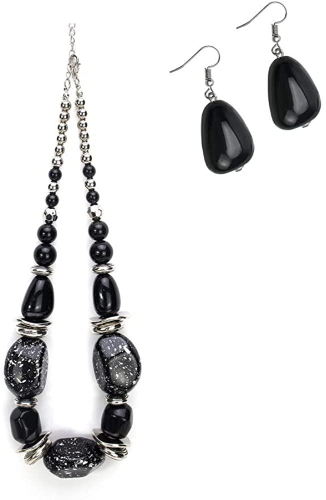 ACOCO Womens Imitation Stone Twisty Chunky Bib Necklace Chokers for Wedding Party Bracelet + Earring
