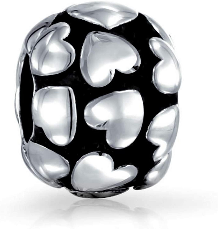 Multi Heart Love Charm Bead For Women For Teen Oxidized 925 Sterling Silver Fits European Bracelet