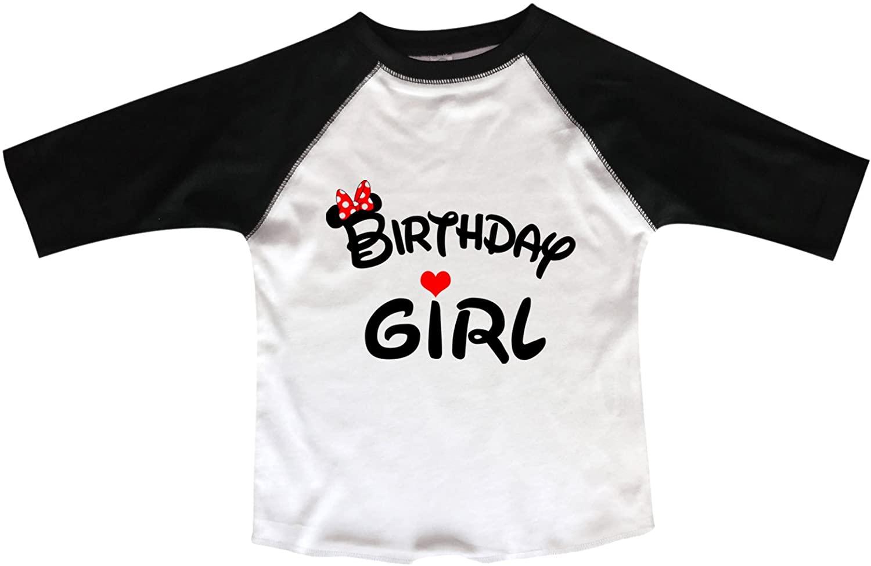"Girls Disney Birthday Raglan ""Birthday Girl"" Minnie Mouse Bow Toddler & Youth 3/4 Sleeves Baseball Tee"