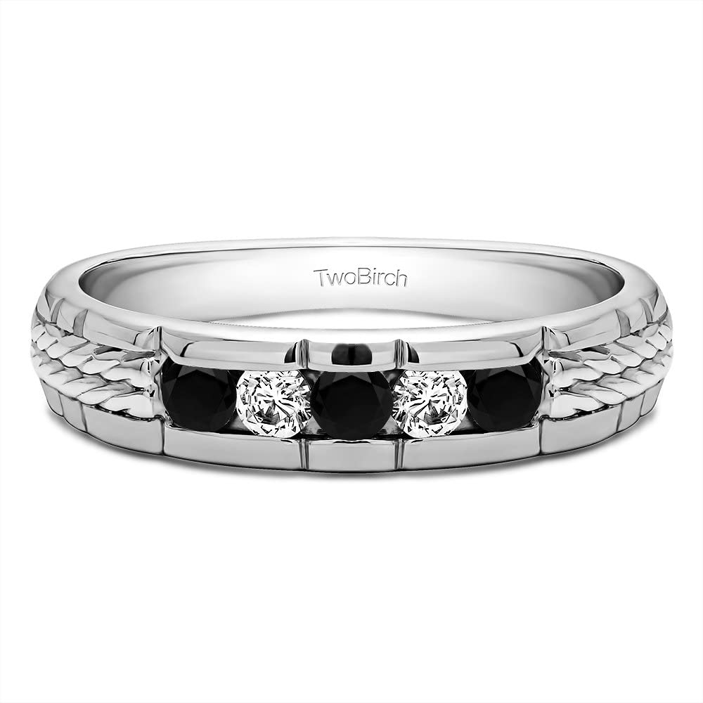 TwoBirch Sterling Silver Men's Wedding Ring with Braided Shank With Black And White Cubic Zirconia(0.36Ct.)