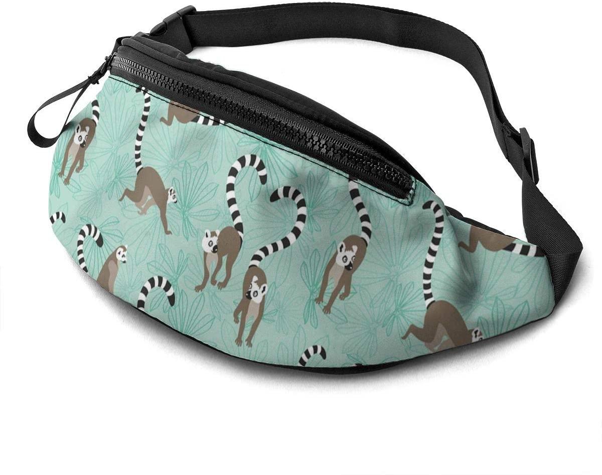 Dujiea Fanny Pack, Animal Lemur Waist Bag with Headphone Hole Belt Bag Adjustable Sling Pocket Fashion Hip Bum Bag for Women Men Kids Outdoors Casual Travelling Hiking Cycling