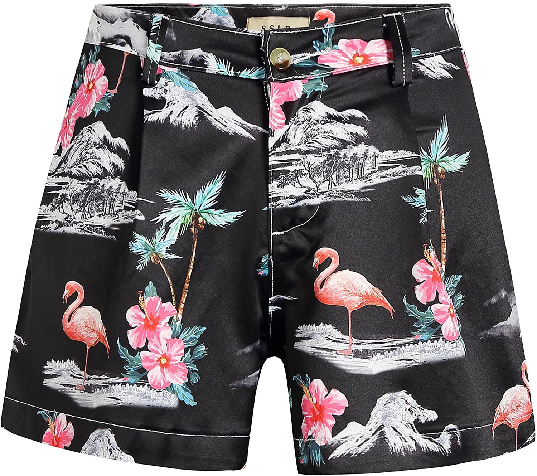 SSLR Women's Flamingos High Waist Casual Hawaiian Shorts