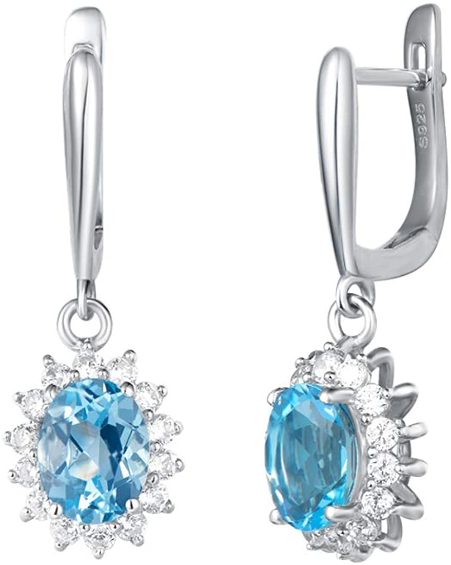 Carleen White Gold Plated Sterling Silver 4.12 Carats Oval Natural Blue Topaz Celebrity Diana Halo Dangle Drop Earrings November Birthstone for Women Girls