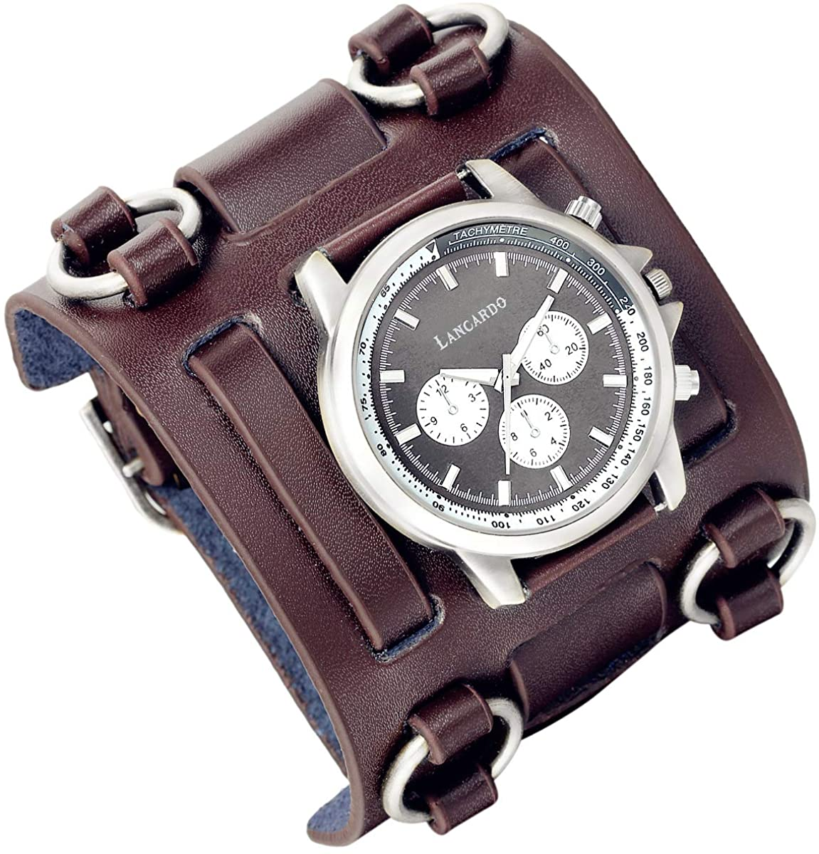 Mens Retro Steampunk Rock Gothic Wide Genuine Leather Bracelet Cuff Watches Replaceable Big Face Upgraded Japanese Quartz Movement 30M Waterproof Watch Costume Watch for Halloween