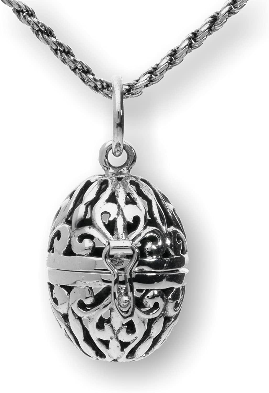 Pearlina Sterling Silver Filigree Necklace Aromatherapy Egg Locket Prayer Holder Pill Box, 20