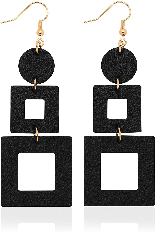 KINIVA Genuine Leather Earrings, Lightweight Dangle Earrings for Women Teen Girls