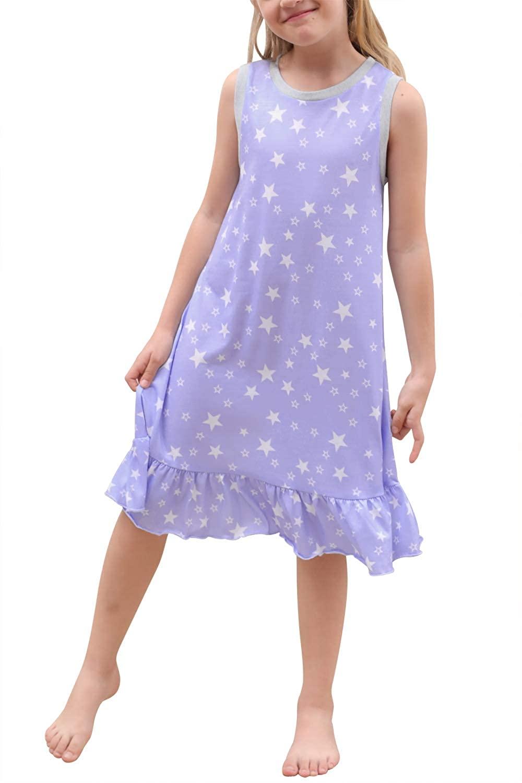 GORLYA Girl's Summer Nightgowns Print Tank Nightshirts Ruffle Hem Lounge Sleepwear Dress 4-14T Kids