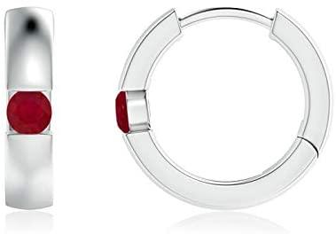Channel-Set Round Ruby Hinged Hoop Earrings (2.5mm Ruby)