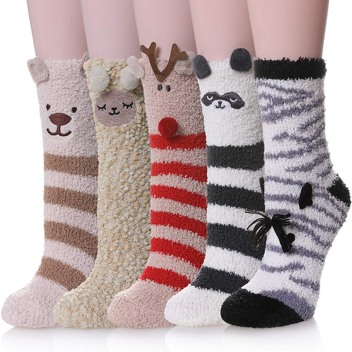 PUREMART Womens Slipper Socks Soft Warm Coral Fleece Fuzzy Fluffy Socks For Autumn Winter, 5 Pairs