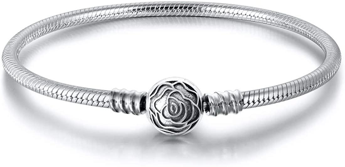 JIAYIQI Charm Bracelet Fit Charms 925 Sterling Silver Snake Chain Bracelet Basic Charm Bracelets, Signature Bracelet with Sparkling Round Clasp Charm Clear