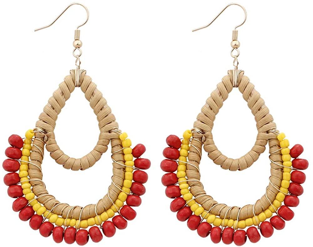 Herfair Rattan Earrings Lightweight Geometric Statement Tassel Woven Bohemian Earrings Handmade Straw Wicker Braid Hoop Drop Dangle Earrings For Women Girls