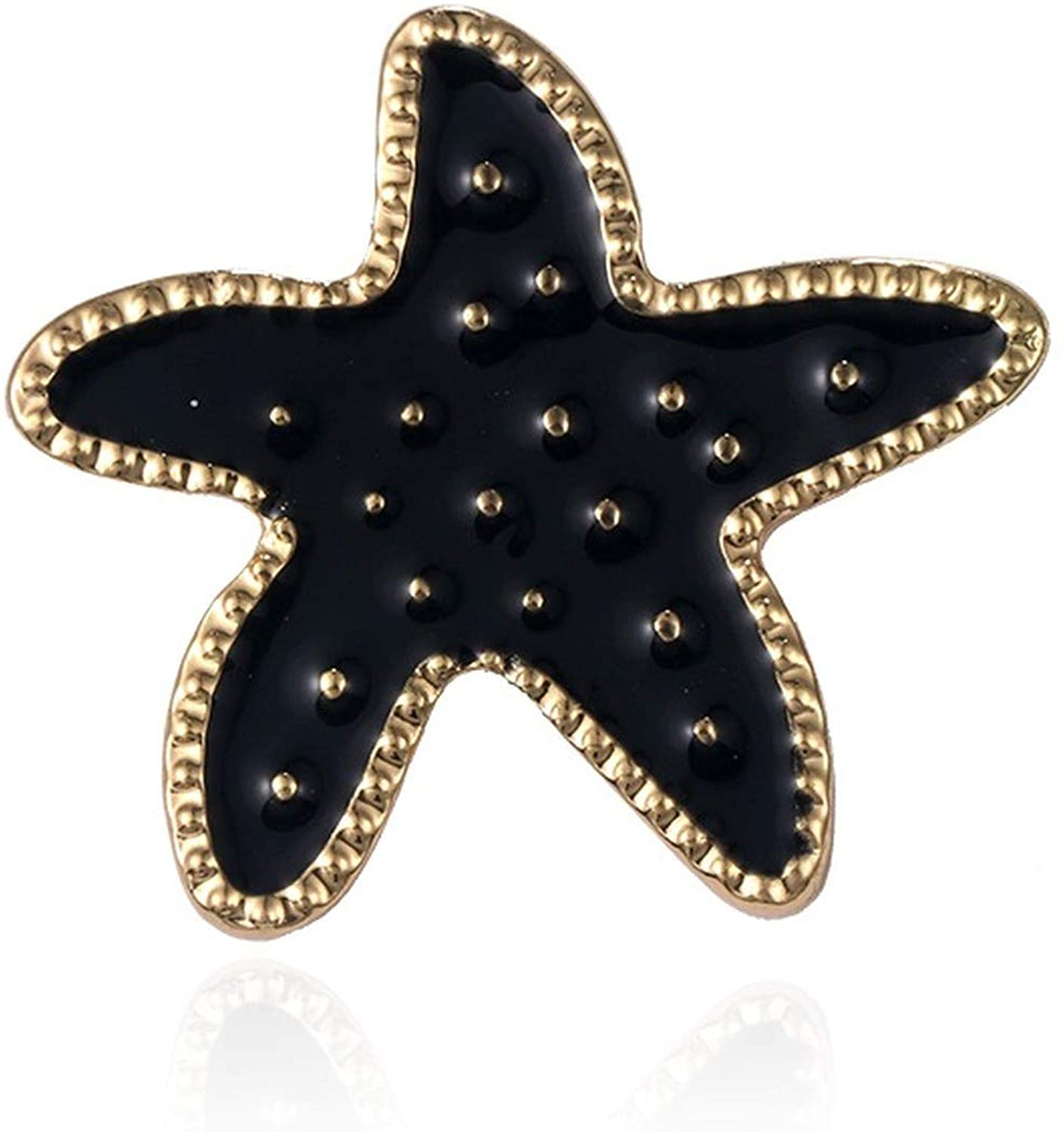 Black Starfish Metal Brooch Pins for Men or Women Bohemian Jewelry