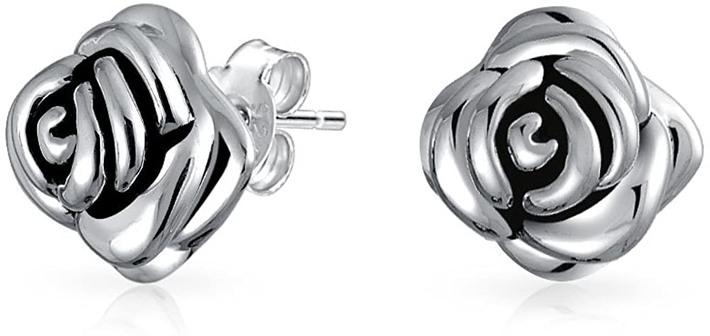 Black Rose Flower Stud Earrings For Women For Girlfriend Antiqued Oxidized 925 Sterling Silver