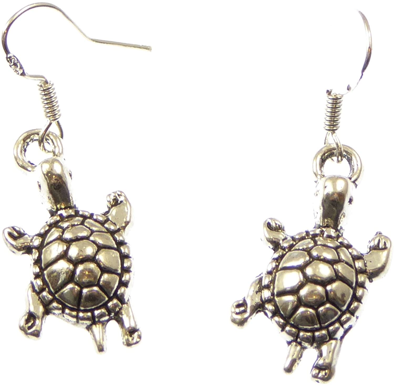Tibetan silver turtle tortoise earrings with sterling silver hooks in organza bag