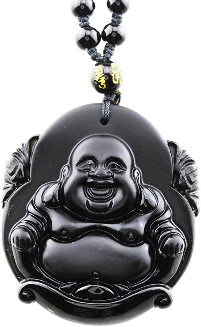 FOY-MALL Unisex Natural Obsidian Laughing Buddha Pendant Beads Chain Necklace XL1312