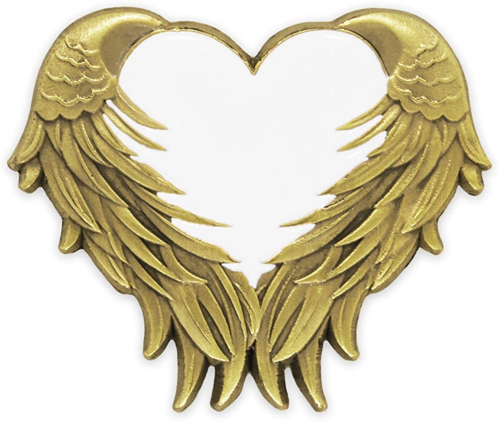 PinMart White Heart with Antique Gold Angel Wings Enamel Lapel Pin