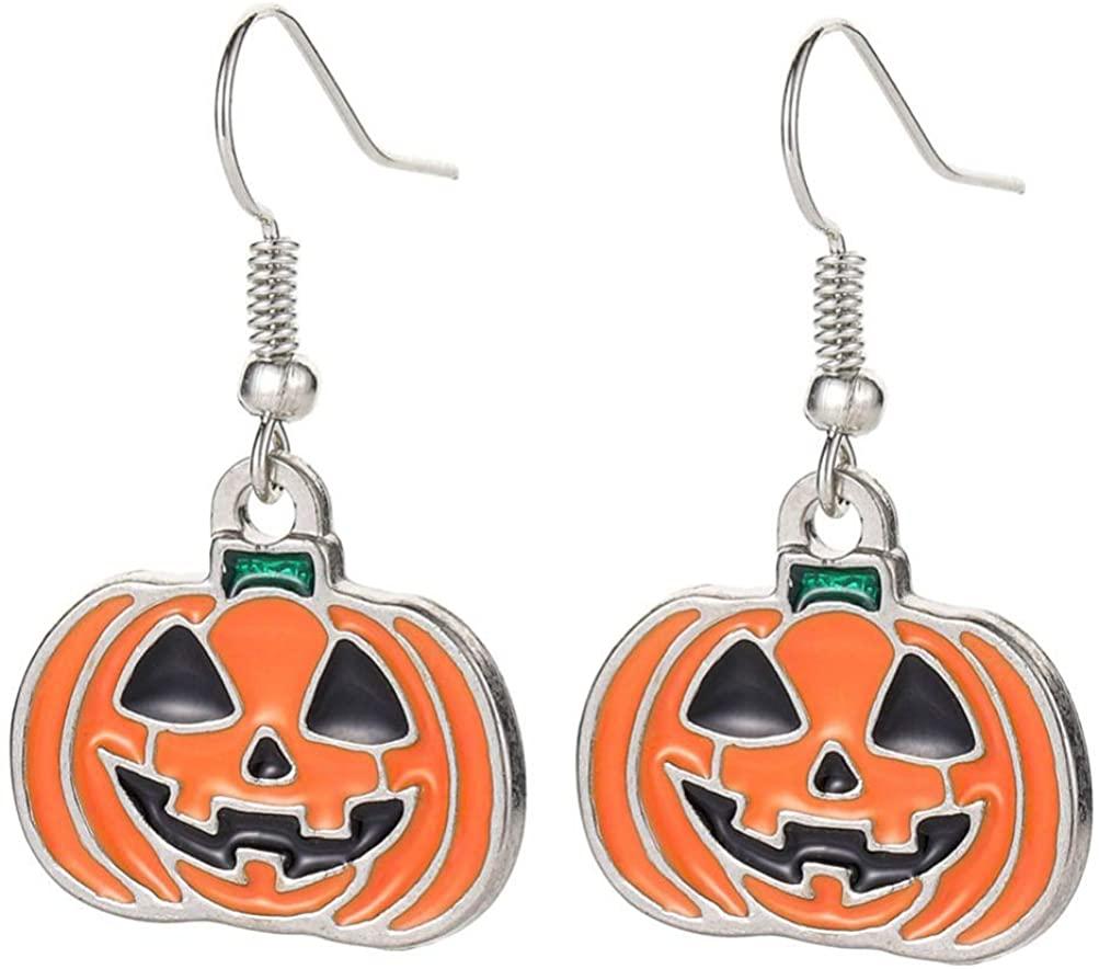 KESYOO 3 Pairs Halloween Dangle Earrings Ghost Pumpkin Drop Earring Enamel Ear Jewelry for Costume Party Supplies (Assorted Color)