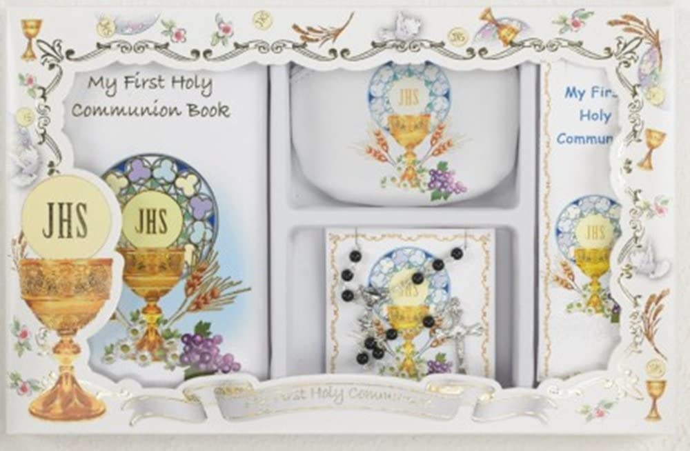 My First Holy Communion Boys Gift Set with Prayer Book, Rosary Pouch with Rosary, and Bookmark