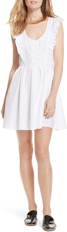 Free People Womens Lace Front Ruffled Mini Dress