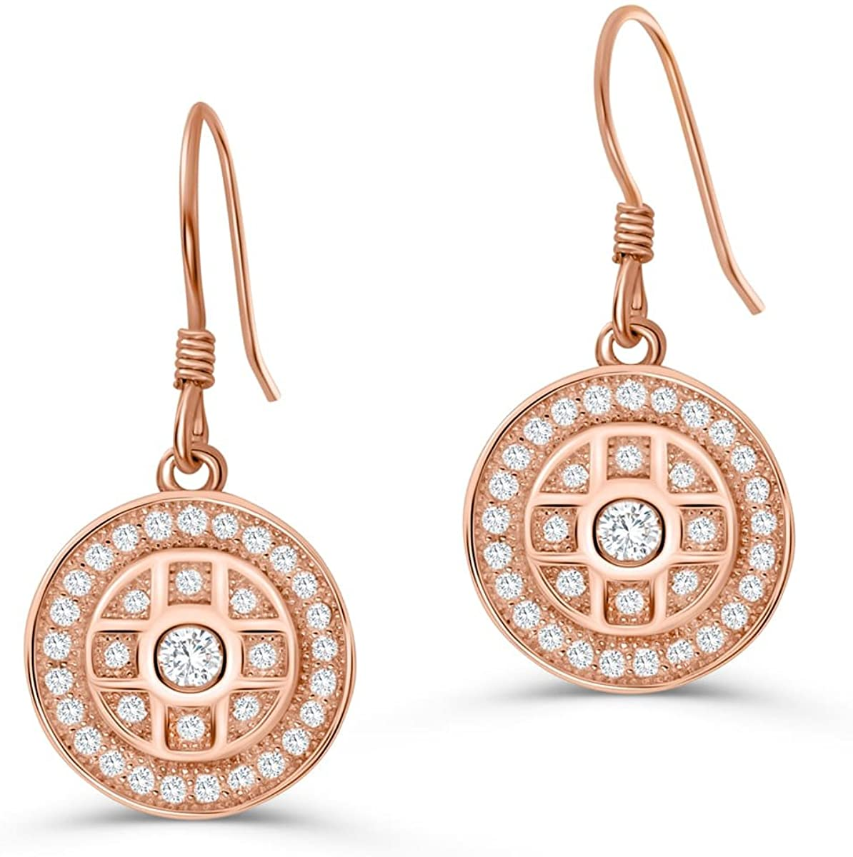 PRJewel Rose Gold Plated Sterling Silver Pave CZ Drop Earrings