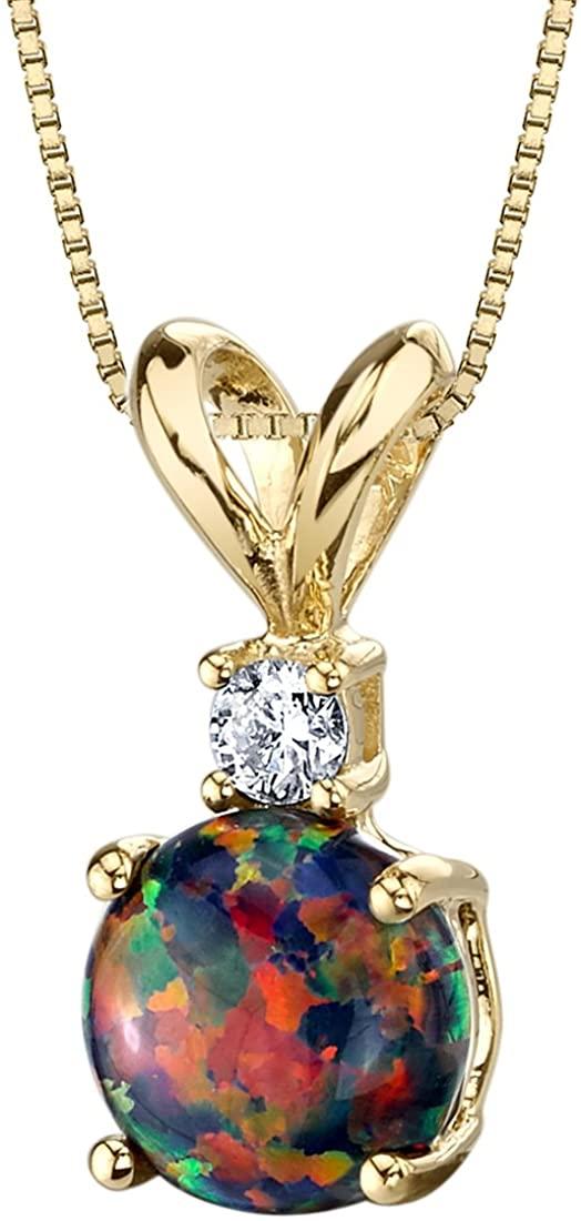 14 Karat Yellow Gold Created Black Opal Diamond Solitaire Pendant