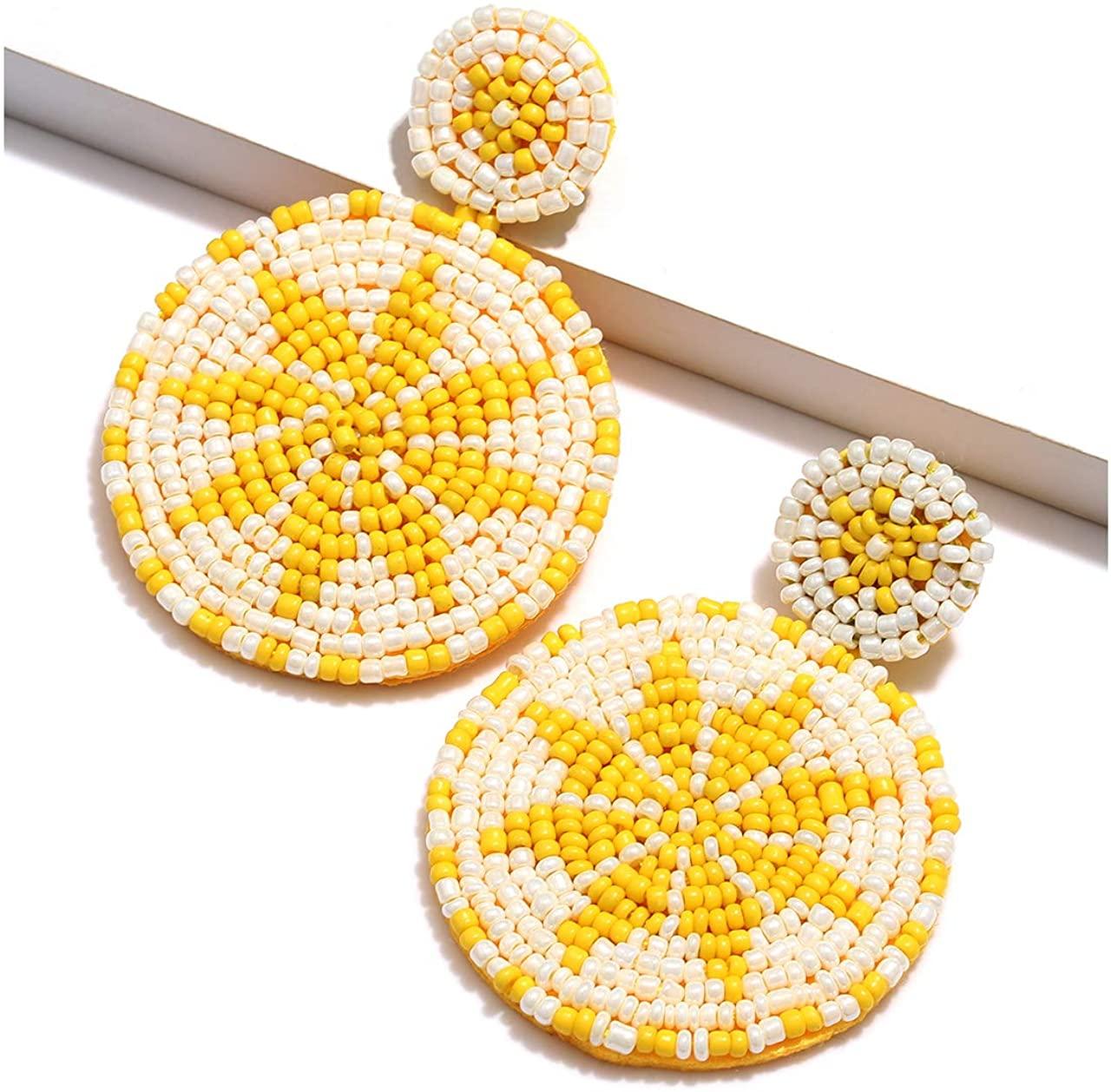 Beaded Drop Earrings for Women Handmade Seed Beads Earrings Bohemian Beaded Dangle Earrings Stud