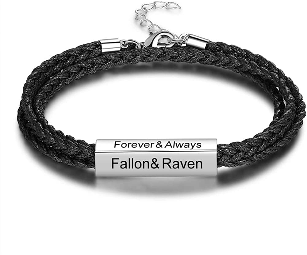 DYUNQ Personalized Custom Bracelet Adjustable, Handmade Braided Rope Nameplate ID Bracelet Custom Bar Bracelet Engraved 4 Names Suitable for All Occasion Men or Women