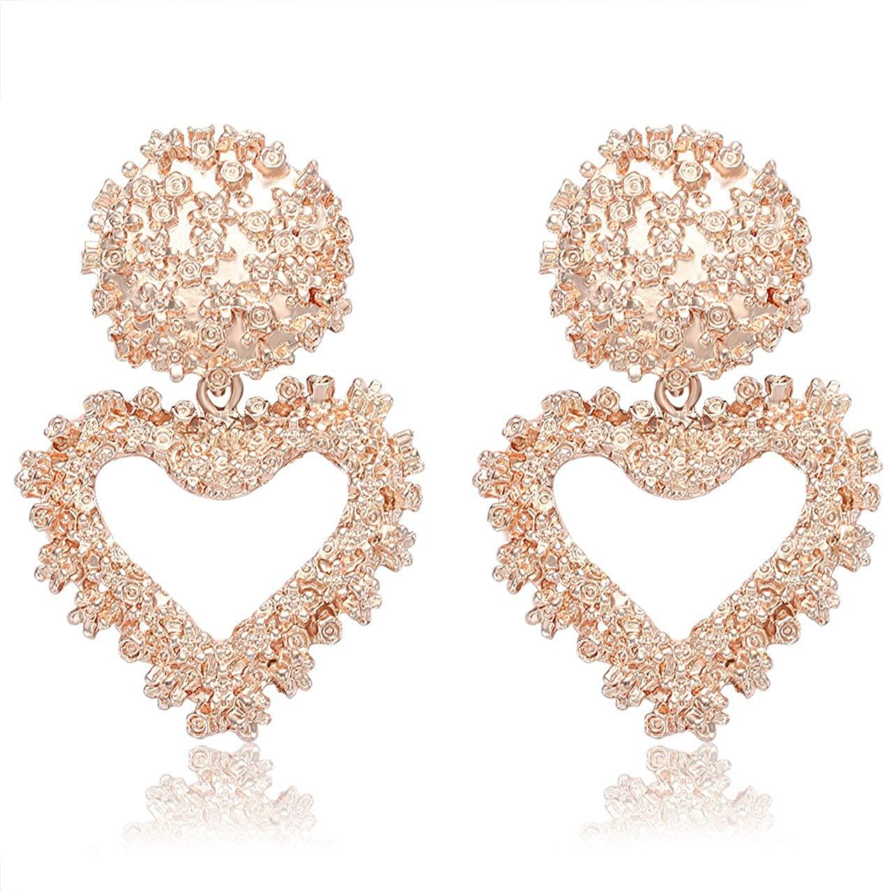 YINL Statement Metal Earrings –Big Vintage Geometric Earrings Raised Design Drop Dangle Earrings Gold/Silver Textured Heart Earring for Women Girls