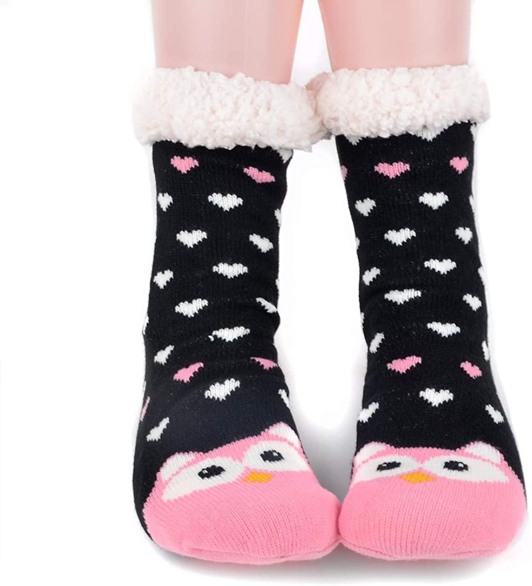Women's Fleece Slipper Socks Cozy & Warm Sherpa Socks Non Slip with Grippers House Slippers Winter Holidays Christmas Gifts