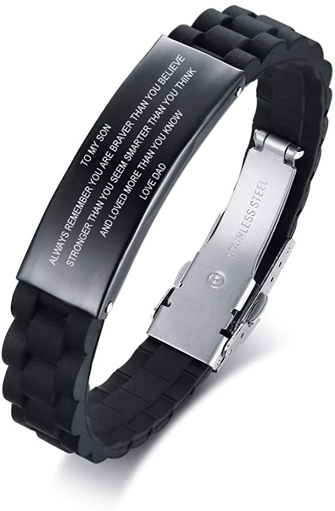 MEALGUET Stainless Steel Silicone to My Son Love Mom Love Dad Inspirational Wristband Bracelets to Son,Courage Quotes Graduation,Birthday Idea to Son