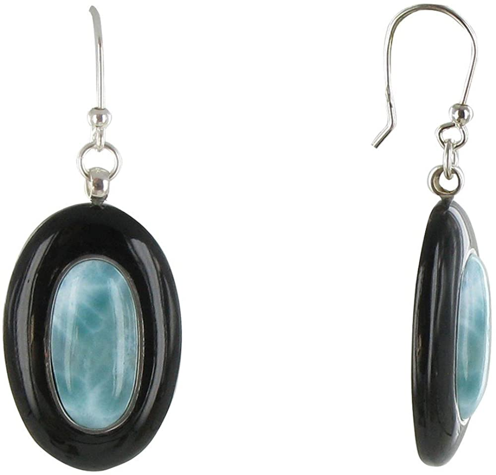 Les Poulettes Jewels - Sterling Silver Earrings Ovals Black Horn and Larimar