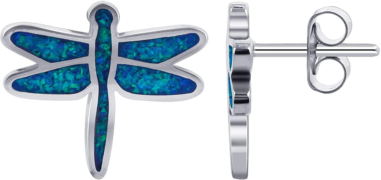 Blue Created Opal Dragonfly Southwestern Style Sterling Silver Stud Post Back Earrings