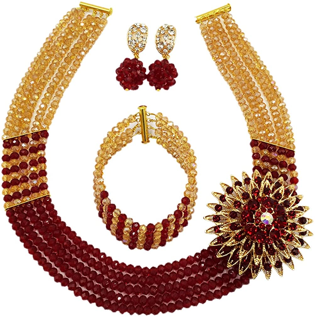 laanc Womens Girls Necklace Bracelet 5 Rows Gold AB and Colorful Crystal Beads African Jewelry Sets