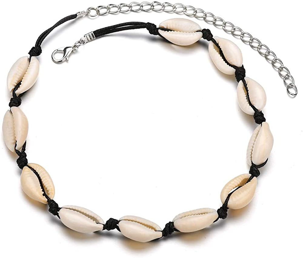 SNOWLIN Mother's Day Gift Handmade Natural Shell Choker Necklace Hawaii Sea Bead Choker Jewelry Women's Cowrie Shell Necklace Boho Beach Jewelry for Womens