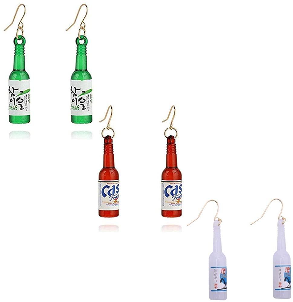 TIANHONGYAN 3 Pairs Creative Funny Resin Beer Bottle Soju Dangle Drop Earrings Set for Women Girls Pub Party Unique Bottle Dangle Earring Jewelry Gifts