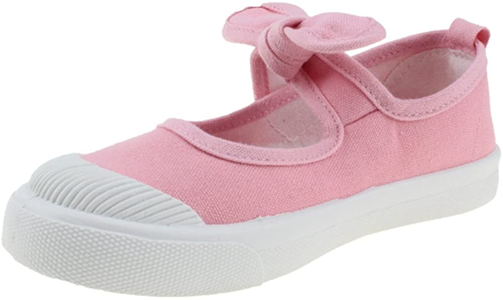 Maxu Girl's Canvas Flats Princess Bowknot Shoes,Pink,Little Kid Size 2.5