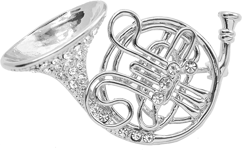 chelseachicNYC Tiny Jewel Crystal Big French Horn Brooch Pin