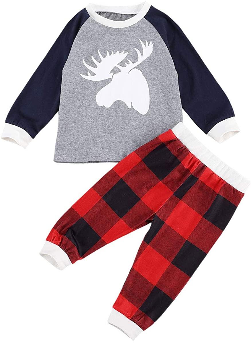 Kids Toddler Baby Girl Boy Christmas Outfit Long Sleeve T-Shirt Tops Pants Christmas Pajamas 2PC Clothes Set