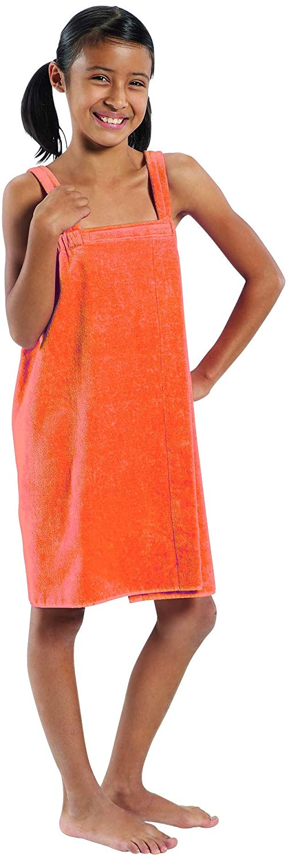BY LORA Spa Bath Wrap Towels for Girls, Orange - Small