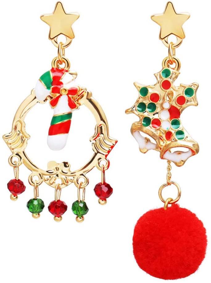 DragonPad 1 Pair of Christmas Earrings Star Hairball Candy Pendant Earrings Long Dangle Cute Decorative Earrings Jewelry Set for Women Teens Girls
