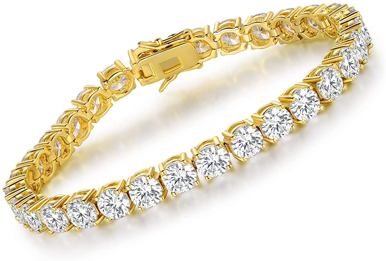 VOLUKA Cubic Zirconia Tennis Bracelet for Women White Gold/Gold/Rose Gold Plated CZ Bracelets for Men Girls 7.5in