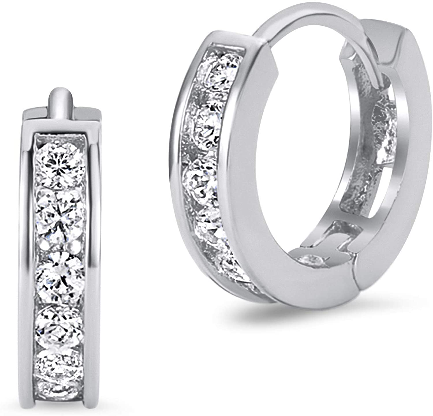 925 Sterling Silver Rhodium Plated 3mm x 13mm Cubic Zirconia Channel Huggie Baby Girls Earrings