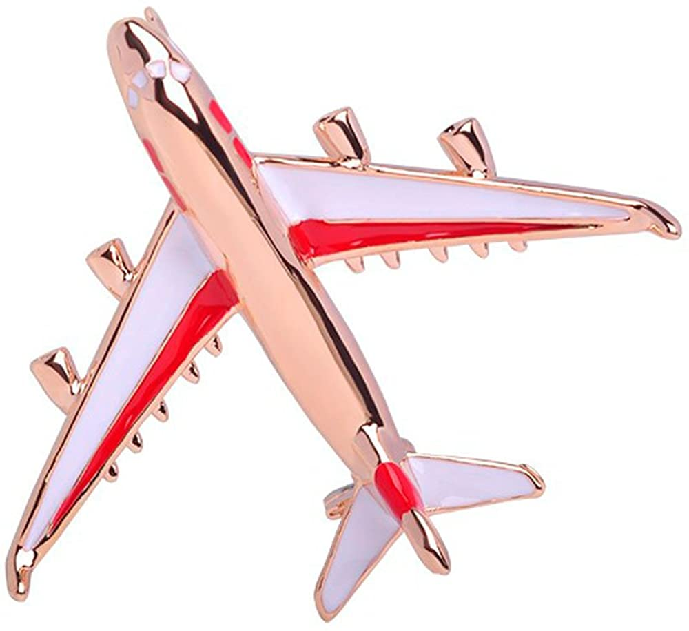 RUXIANG Colorful Enamel Blue and Red Airplane Pin Brooch Jewelry for Adults