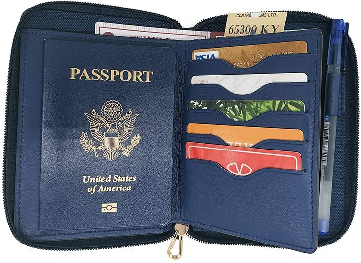 Travel Passport Wallets Organizer, LaRolls Leather Passport Cover Case with RFID Card Slots Travel Wallets for Women, Blue