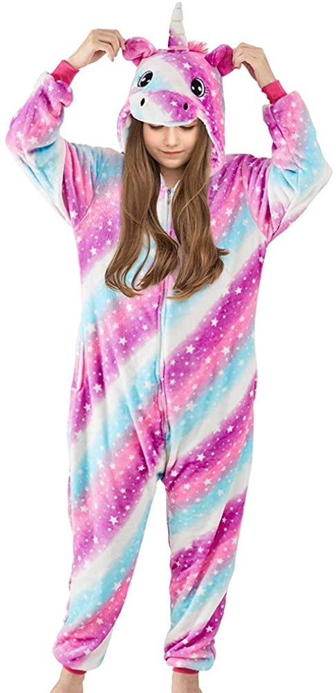 Play Tailor Unicorn Costume for Girls Halloween Party Fleece Pajamas Sleepwear