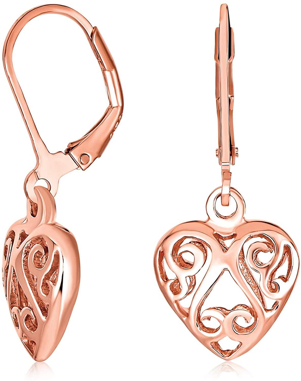 Open Lightweight Scroll Filigree Multi Heart Shape Puff Hearts Drop Dangle Earrings For Women Girlfriend Rose Gold Plated 925 Sterling Silver Leverback