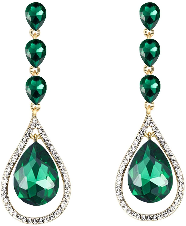 Scarlvambo Wedding Dangle Earrings Chandelier Women's Austrian Crystal Pierced Silver-Tone Emerald Color