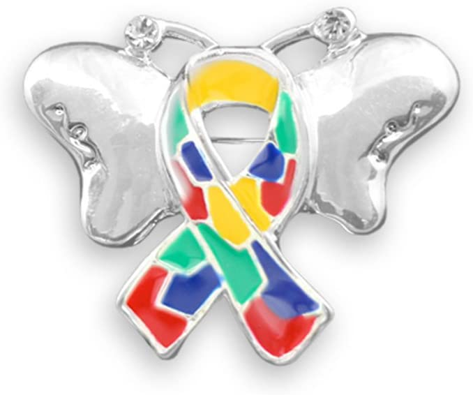 2 Pack Autism Awareness Ribbon Butterfly Pins (2 Pins Individually Bagged)