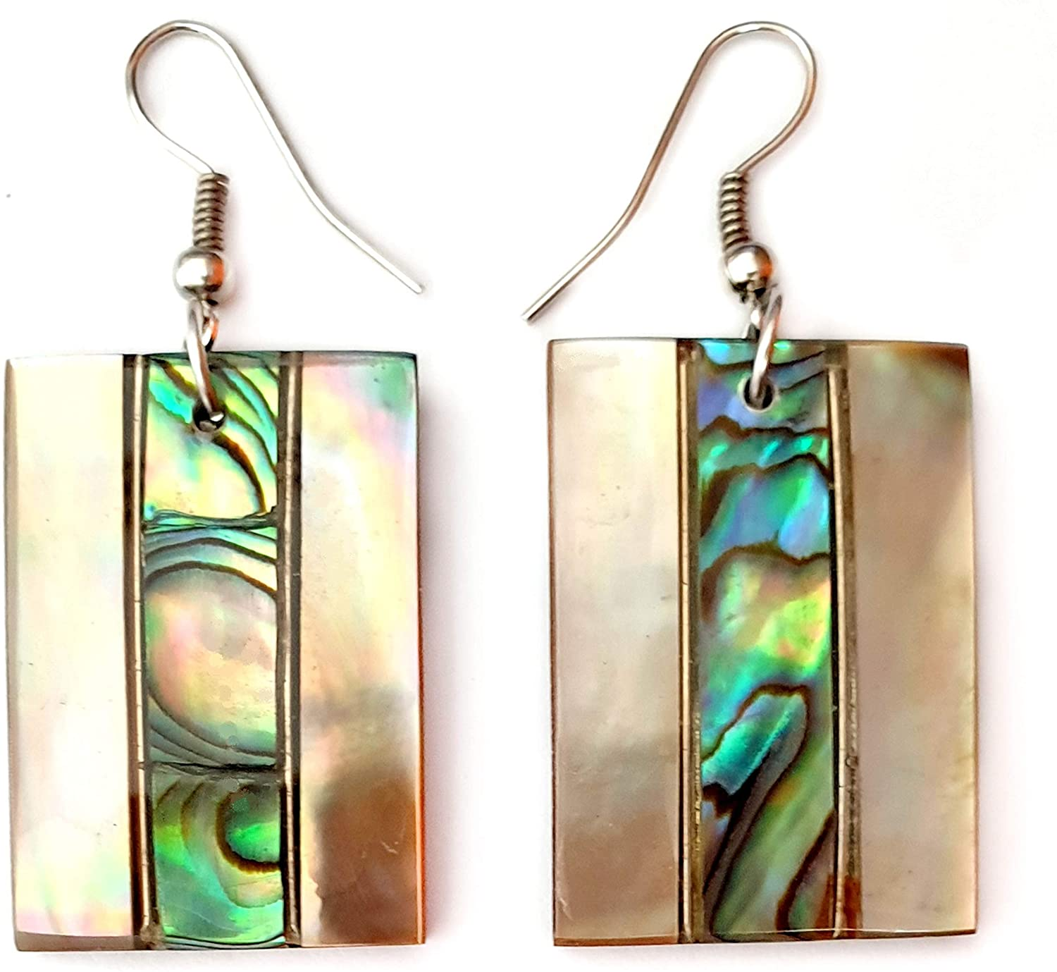 Natural Mother of Pearl Abalone Shell Dangle Drop Earrings Handmade Women Jewelry CA235