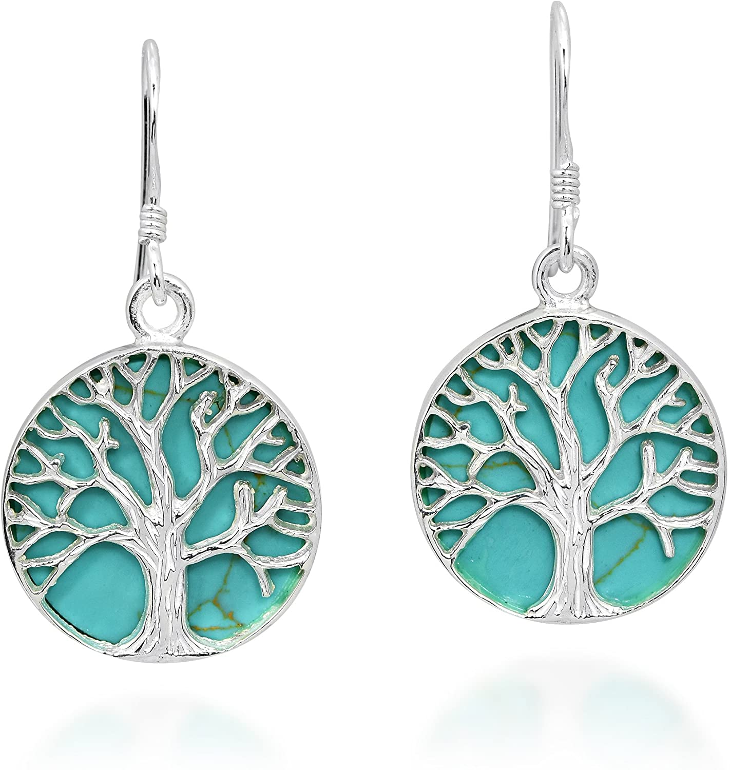 Mystical Tree of Life Simulated Turquoise Inlay .925 Sterling Silver Dangle Earrings
